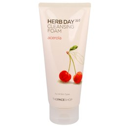 Пінка для вмивання з Ацеролою THE FACE SHOP Herb Day 365 Cleansing Foam Acerola